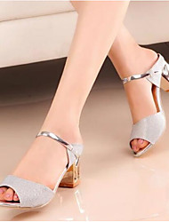 cheap -Women's Shoes Nubuck leather Spring Fall Basic Pump Sandals Block Heel for Casual Gold Silver