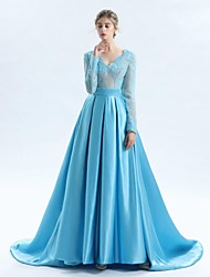 cheap -A-Line V-neck Court Train Lace Satin Tulle Mother of the Bride Dress with Lace Sash / Ribbon by LAN TING BRIDE®