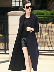 Women's Daily Work Simple Casual Winter Coat,Solid Shirt Collar Long Sleeve Long Wool