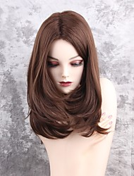 cheap -Synthetic Hair Wigs Natural Wave Middle Part Capless Natural Wigs Medium Brown