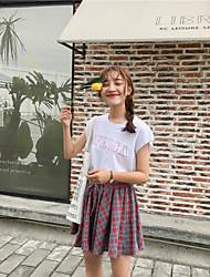 abordables -Mujer Simple Casual/Diario Verano T-Shirt Falda Trajes,Escote Redondo Letra y Número Manga Corta
