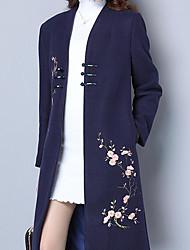 baratos -Mulheres Longo Casaco Longo Diário Temática Asiática Inverno Outono, Floral Lã Poliéster Colarinho Chinês