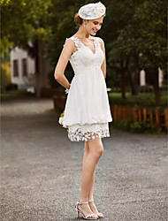 cheap -Sheath / Column V-neck Short / Mini Chiffon Lace Wedding Dress with Appliques by LAN TING BRIDE®