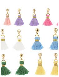 baratos -Mulheres Franjas Brincos Compridos / Brincos em Argola - Torre Borla, Estilo bonito Verde / Azul / Rosa claro Para Escola / Encontro