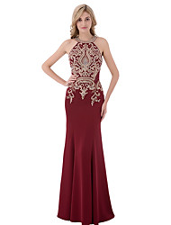 Mermaid / Trumpet Halter Floor Length Mikado Prom Formal Evening Dress with Beading Sequins by Sarahbridal