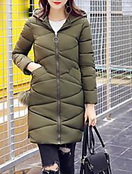 preiswerte -Damen Gefüttert Mantel,Lang Einfach Ausgehen Lässig/Alltäglich Solide-Polyester Polypropylen Langarm