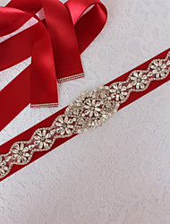 cheap -Satin/ Tulle Wedding Special Occasion Sash With Rhinestone Sashes