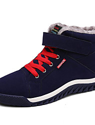 cheap -Men's Shoes Suede Fall Winter Fur Lining Comfort Snow Boots Bootie Boots Magic Tape Lace-up For Casual Outdoor Dark Blue Black