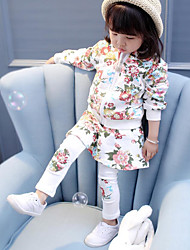 cheap -Girls' Floral Clothing Set,Cotton Spandex Winter Fall White