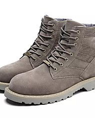 Men's Shoes Leather Spring Fall Combat Boots Boots Lace-up For Work & Safety Khaki Almond Black