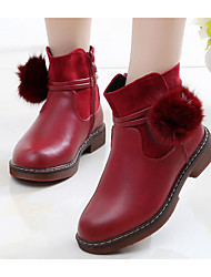 cheap -Girls' Shoes Leatherette Fall / Winter Comfort / Fashion Boots Boots for Black / Light Yellow / Red
