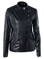 cheap -Women's Daily Going out Simple Casual Street chic Winter Spring Leather Jacket,Solid Stand Regular PU Polyester