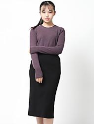 Standard Cashmere Da donna-Casual Ufficio Semplice Vintage Sensuale sofisticato Moda città Tinta unita Rotonda Manica lunga Cashmere
