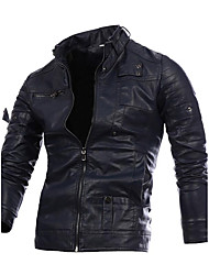 Men's Party Plus Size Simple Casual Street chic Winter Fall Leather Jacket,Solid Stand Long Sleeve Regular PU