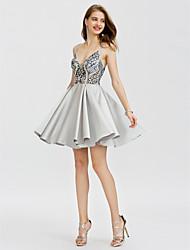 economico -Da ballo Con bretelline Corto / mini Raso Cocktail Vestito con Perline Dettagli con cristalli A pieghe di TS Couture®