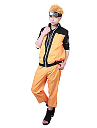 cheap -Inspired by Naruto Naruto Uzumaki Anime Cosplay Costumes Cosplay Suits Patchwork Long Sleeves Coat Pants For Male Female
