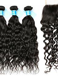 abordables -Cheveux Péruviens Ondulation Tissages de cheveux humains 4 One Pack Solution