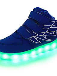 cheap -Boys' Shoes Real Leather Spring Fall Light Up Shoes Comfort Novelty Sneakers Magic Tape LED For Casual Outdoor Blue Green Red Black White