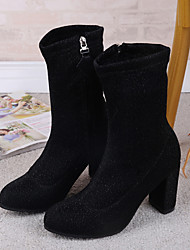 Women's Shoes Fabric Winter Fashion Boots Boots Booties/Ankle Boots For Casual Gold Black Silver