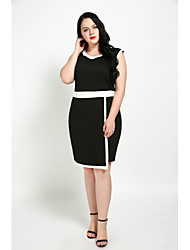 cheap -Cute Ann Women's Plus Size Vintage Street chic Shift Sheath Black and White Dress - Color Block Patchwork, Split