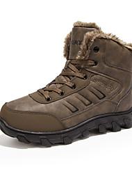 Herren Schuhe Echtes Leder Leder Herbst Winter Schneestiefel Stiefel Wandern Booties / Stiefeletten Kombination Für Normal Schwarz Braun