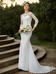 Mermaid / Trumpet Off-the-shoulder Sweep / Brush Train Chiffon Lace Wedding Dress with Appliques Ruching by LAN TING BRIDE®