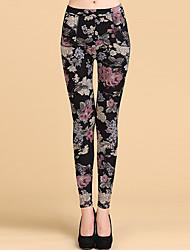 cheap -Women's Thick Print Fleece Lined Legging,Print Black