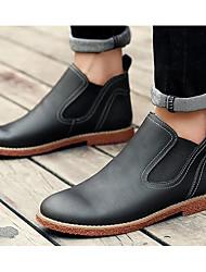 Homme Chaussures Cuir Printemps Automne Confort boîtes de Combat Bottes Pour Décontracté Noir Gris Brun Foncé