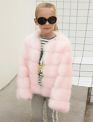 cheap -Girls' Solid Jacket & Coat, Wool Rabbit Fur Raccoon Fur Winter Fall Long Sleeves White Black Blushing Pink Dark Gray Light gray