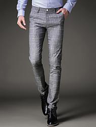 Hombre Chic de Calle Tiro Medio Microelástico Ajustado Chinos Pantalones,Delgado Cuadrícula