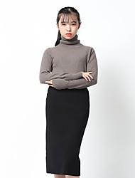 Standard Cashmere Da donna-Casual Ufficio Semplice Vintage Sensuale sofisticato Moda città Tinta unita A collo alto Manica lunga Cashmere