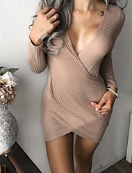 abordables -Femme Slim Moulante Robe Couleur Pleine Col en V