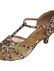 cheap -Women's Latin Satin Sandal Indoor Customized Heel Black Almond Leopard