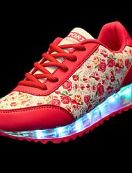 Mujer Zapatos Goma Primavera Otoño Confort Zapatillas de deporte Tacón Plano Dedo redondo Con Cordón Para Rojo Verde Azul