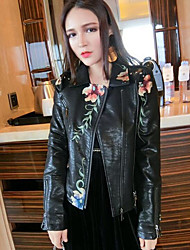 cheap -Women's Daily Street chic Fall Leather Jacket,Floral Print Notch Lapel Long Sleeve Short PU