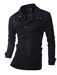 cheap -Men's Daily Plus Size Simple Casual Leisure Spring Fall Trench Coat,Solid Peaked Lapel Long Sleeve Regular Cotton Polyester