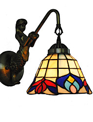 economico -diametro 16cm retro sirena paese tiffany parete luci vetro ombra soggiorno camera da letto lampada