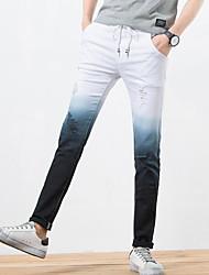 Men's Mid Rise Micro-elastic Slim Chinos Pants,Casual Color Block Spring Summer