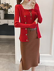 Women's Going out Casual/Daily Simple Fall Winter T-shirt Skirt Suits,Solid Strap Long Sleeve Micro-elastic