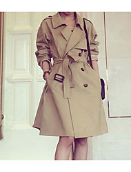 cheap -Women's Daily Leisure Fall Trench Coat,Solid Shawl Lapel Long Sleeve Long Polyester