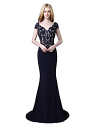 cheap -Mermaid / Trumpet V-neck Court Train Linen Prom Formal Evening Dress with Beading Lace by Sarahbridal