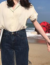 cheap -Women's Work Street chic Summer T-shirt,Solid V Neck Short Sleeves Linen Opaque