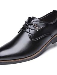 Masculino sapatos Pele Real Pele Napa Primavera Outono Conforto Oxfords Para Casual Preto
