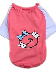 preiswerte -Katzen Hunde T-shirt Weste Hundekleidung Sommer Karton Niedlich Modisch Lässig/Alltäglich Gelb Rot Rosa
