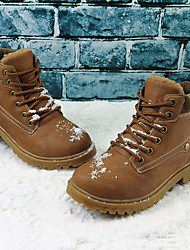 cheap -Boys' Shoes Leatherette Fall Winter Snow Boots Combat Boots Boots Booties/Ankle Boots Lace-up For Outdoor Brown Yellow Black