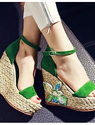 preiswerte -Damen Schuhe Echtes Leder Sommer Pumps Sandalen Keilabsatz Offene Spitze Strass für Normal Schwarz Grün