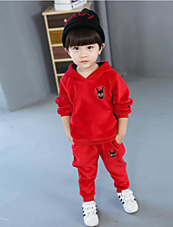 Boys' Solid Cartoon Sets,Cotton Spandex Spring Fall Clothing Set