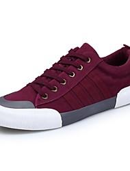 baratos -Masculino sapatos Flocagem Couro Ecológico Primavera Outono Conforto Tênis Para Casual Preto Cinzento Vermelho Verde e Azul