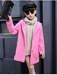 cheap -Girls' Solid Jacket & Coat,Wool Cotton Winter Fall Cute Casual Active Red Blushing Pink Gray