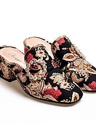 Feminino Sapatos Tecido Primavera Verão Conforto Tamancos e Mules Para Casual Preto
